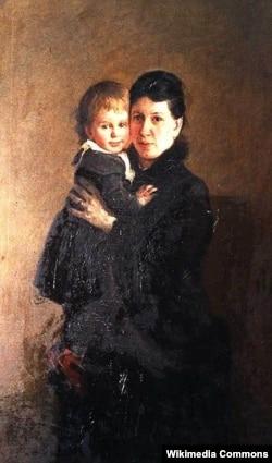 Tolstoyun həyat yoldaşı Sofya Tolstaya (qızı Aleksandra ilə)