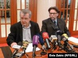 Nikola Vuljanić i Branko Vukšić na konferenciji za novinare Hrvatskih laburista - stranke rada, 13. ožujak 2012.