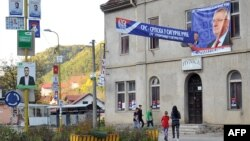 Campaign posters line the streets of the eastern-Bosnian town of Srebrenica.