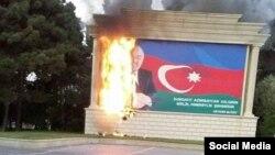 Sumqayıtda yanan plakat