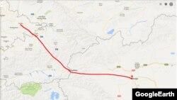 Схематический вид автомобильной дороги Андижан–Ош–Иркештам–Кашгар.