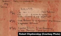 Опис групової фотографії воїнів Армії УНР, зроблений на звороті рукою полковника Григорія Чижевського
