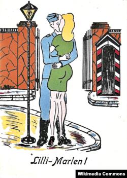 """Открытка, выпущенная почтовой службой вермахта в 1942 году """"по мотивам"""" песни """"Лили Марлен""""."""
