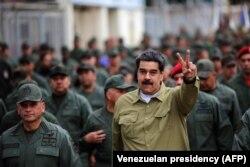 Николас Мадуро на базе Национальной гвардии в Каракасе. 30 января