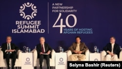 (L-R) Pakistani Foreign Minister Shah Mahmood Qureshi, UN Secretary-General Antonio Guterres, Pakistani Prime Minister Imran Khan and Afghan Vice President Sarwar Danish attend an international conference on the future of Afghan refugees living in Pakistan in Islamabad on Februar