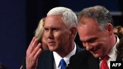 Кандидаты на пост вице-президента США демократ Тим Кейн и республиканец Майк Пенс