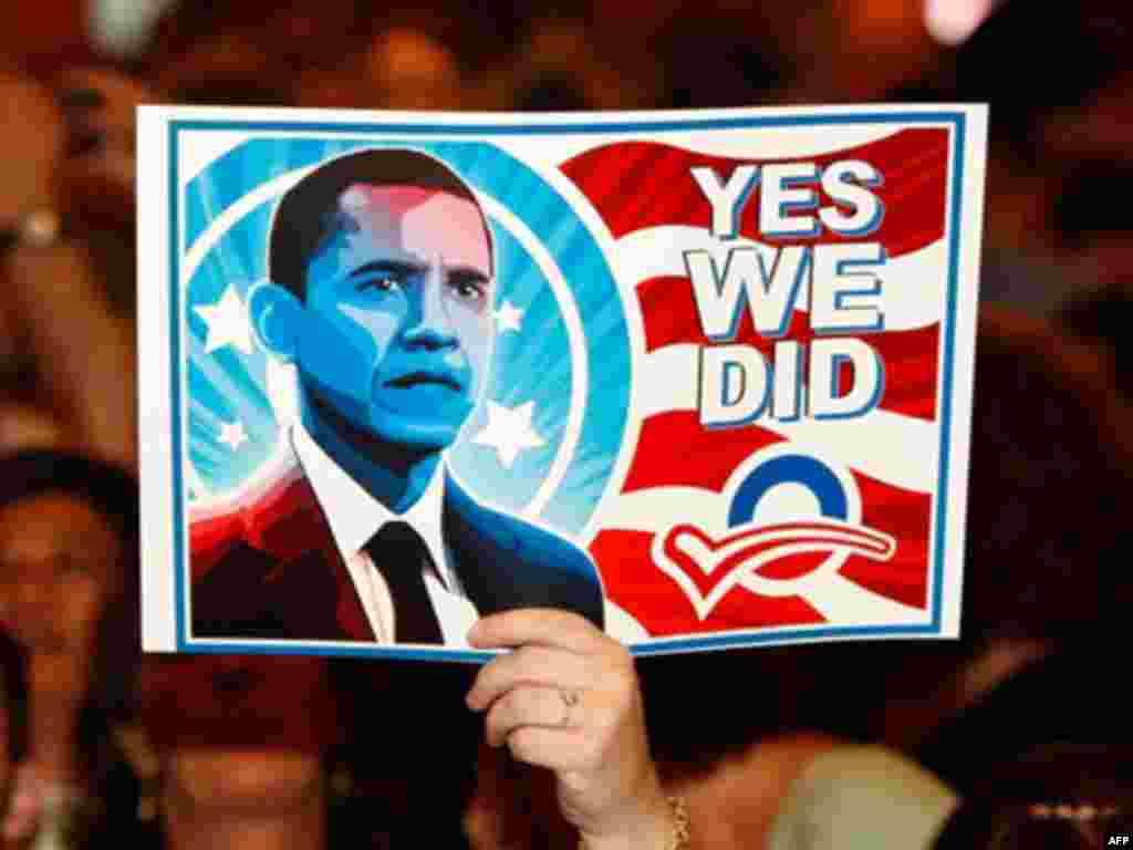 Poruka Obaminih glasača - Obamin izborni slogan ¨Yes, we can¨ pretvoren je nakon pobjede u ¨Yes,we did.¨