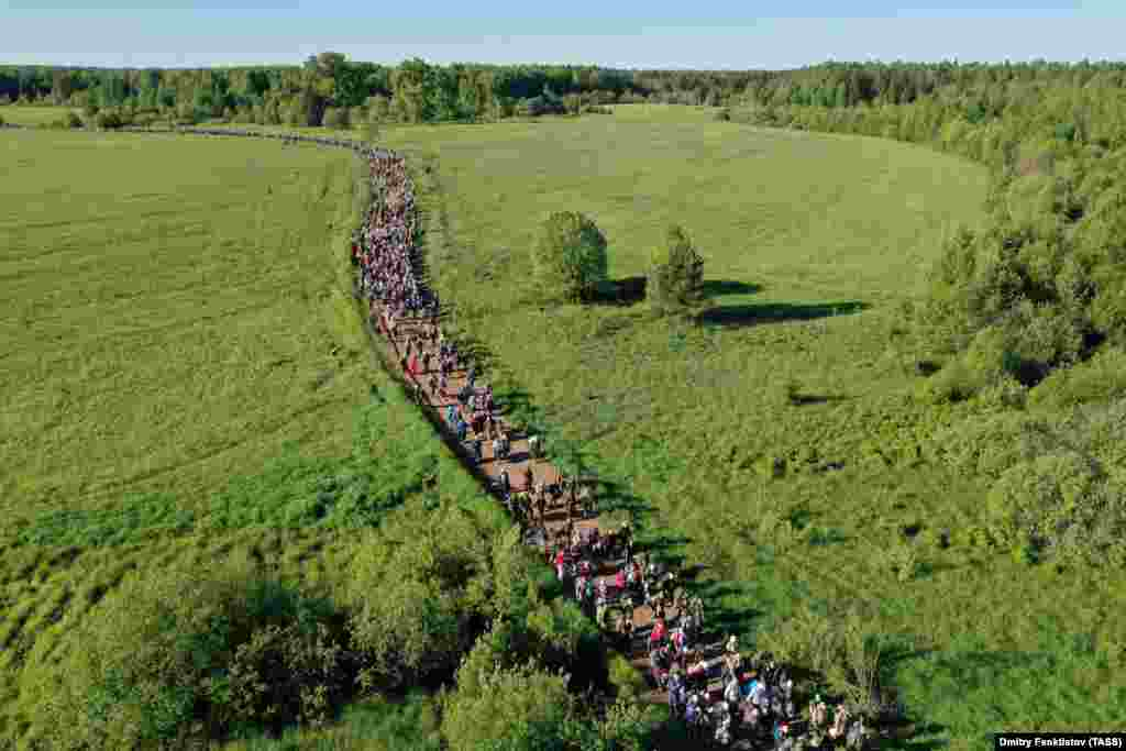 An estimated 17,000 people walked the length of the 150-kilometer pilgrimage.