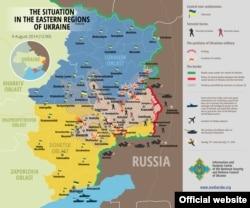 Карта ситуации на юго-востоке Украины 9 августа 2014 года.