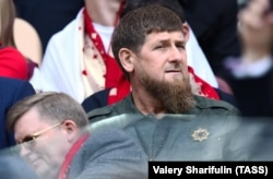 Chechen leader Ramzan Kadyrov at the opening World Cup match between Russia and Saudi Arabia in Moscow on June 14.
