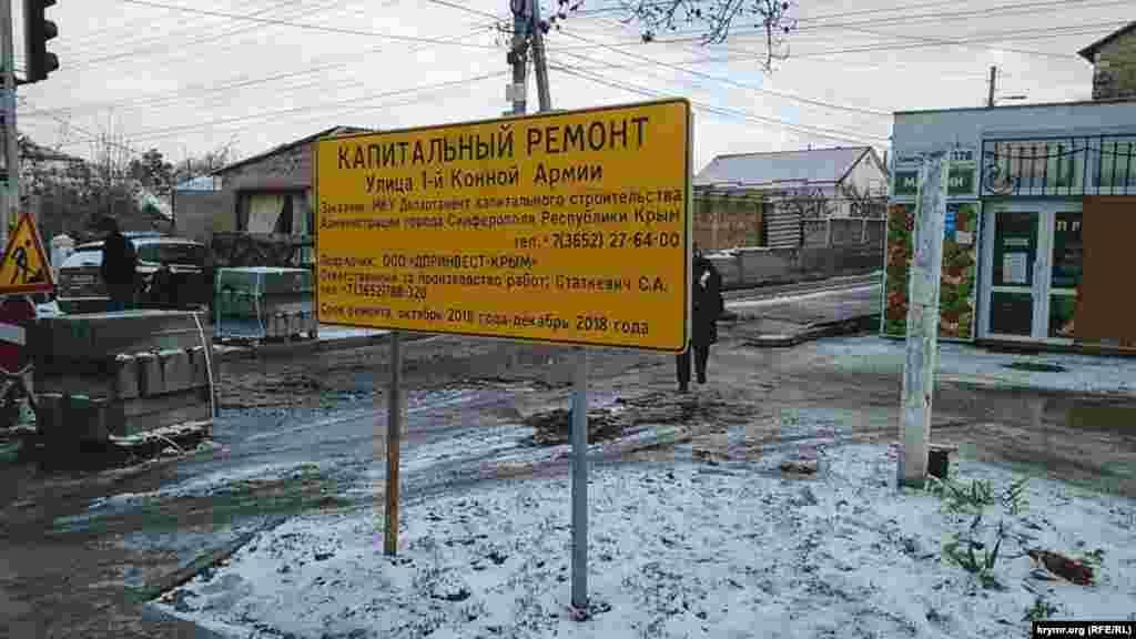 Pervoy Konnoy Armii soqağında yol tamiri