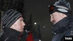 Дзьмітрый Мядзьведзеў і Аляксандар Лукашэнка на курорце ў Краснай Паляне 24 студзеня.