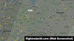 Самолет из Каракаса летит над Германией. Скрин сайта Flightradar