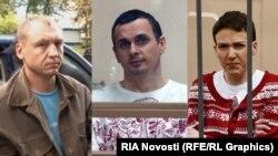 (Зліва направо) Естон Кохвер, Олег Сенцов та Надія Савченко