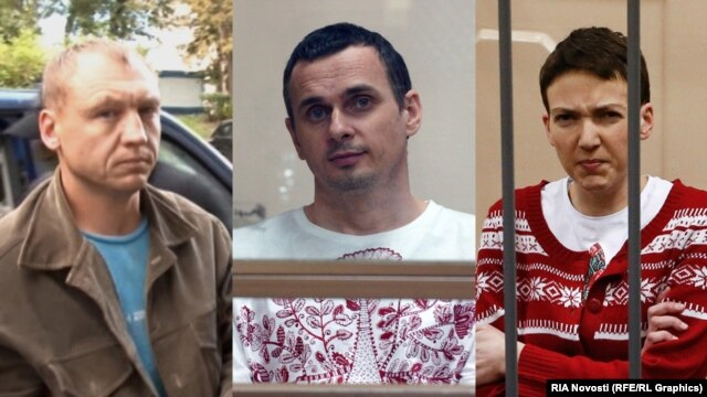 Three hostages: Estonian police officer Eston Kohver, Ukrainian filmmaker Oleh Sentsov, and Ukrainian military pilot Nadia Savchenko