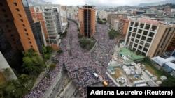 Массовые протесты в Каракасе 23 января 2019 г.