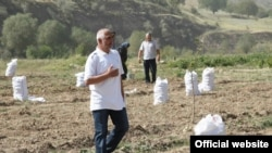 Мирзохӯҷа Аҳмадов дар сари замини кишт