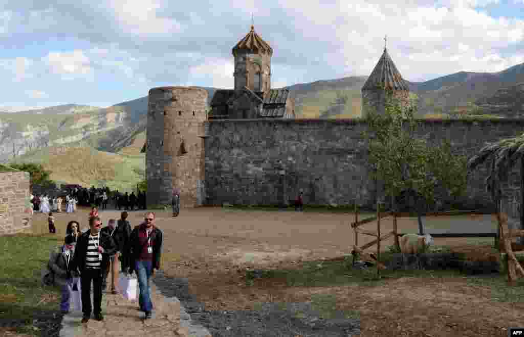 The ancient Tatev Monastery in Armenia's southern mountains, close to the border with Iran