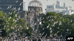 مراسمی سالیانه در پارک صلح در هیروشیما برگزار شده است