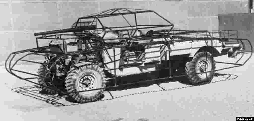 ...and turned jeeps into phony tanks. This photo shows a dummy tank's metal cage before it was fitted with wooden panels to complete the disguise.
