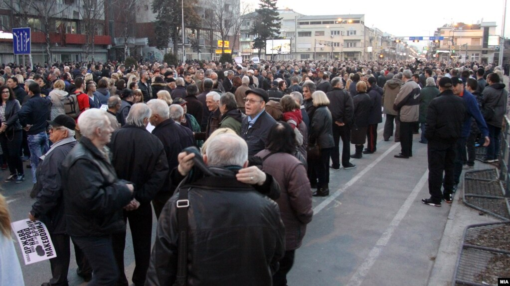 Protesters march in Skopje on February 27.