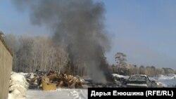 Горящая свалка в Батурино, Томская область