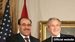 جرج بوش، رییس جمهوری آمریکا و نوری المالکی، نخست وزير عراق.