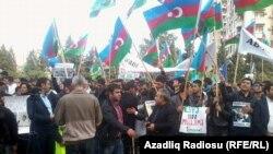 Әзербайжан оппозициясының наразылық жиыны. Баку, 12 қазан 2014 жыл.