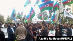 Акция протеста оппозиции Азербайджана. Баку, 12 октября 2014 года.