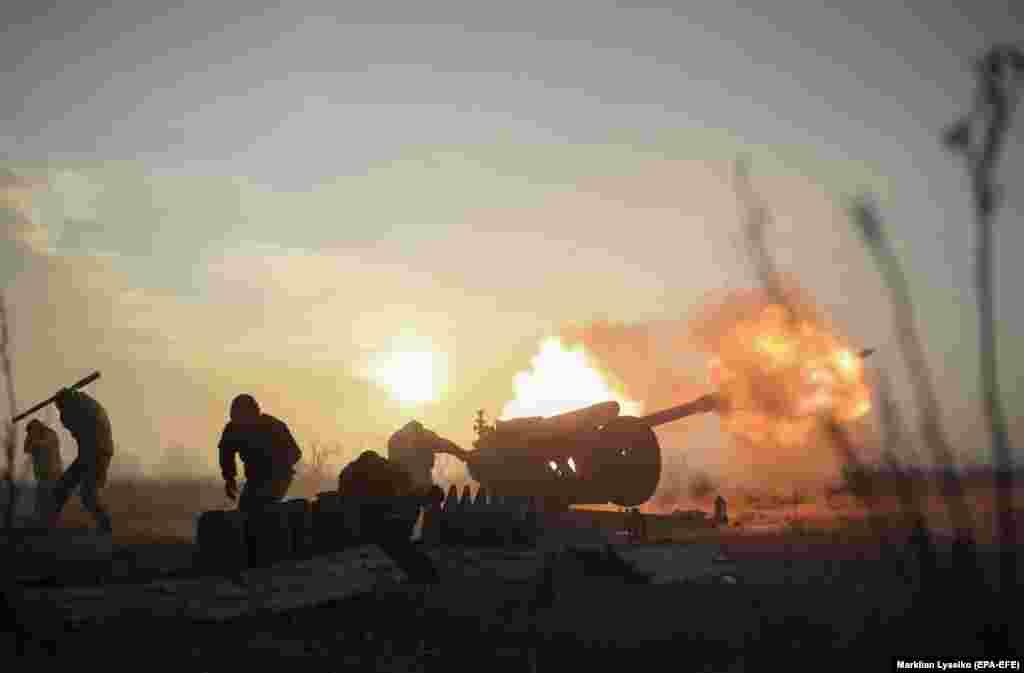 Пазыцыі ўкраінскіх вайскоўцаў на ўсходзе Данецкай вобласьці 11 студзеня.