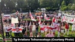 Protest în Norvegia în sprijinul opoziției din Belarus, la care a participat și lidera opoziției Svetlana Țihanovskaia, 12 august 2021.