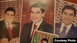 Türkmenistanyň prezidentiniň portretleri.