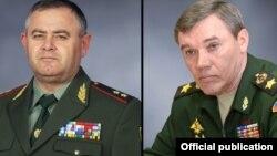 Armenia/Russia - Lieutenant-General Artak Davtian (L), chief of the Armenian amy's General Staff, and his Russian counterpart General Valery Gerasimov.