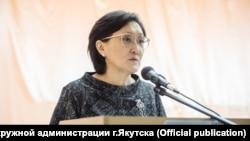 Мэр Якутска Сардана Авксентьева на отчете перед горожанами
