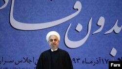 Իրանի նախագահ Հասան Ռոհանին հակակոռուպցիոն խորհրդաժողովի ժամանակ, 8-ը դեկտեմբերի, 2014թ․