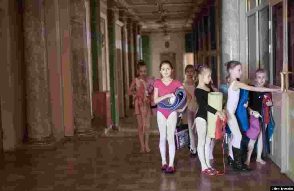 Donetsk, Ukrain. Donetsk opera theater. The children ballet dance shool.