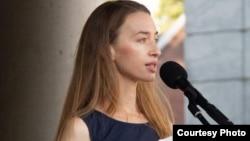 Валерыя Красоўская на акцыі памяці 16 верасьня 2020 у Эйндховэне