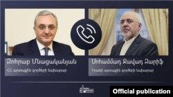 Министр иностранных дел Армении Зограб Мнацаканян (слева) и министр иностранных дел Ирана Мохаммад Джавад Зариф