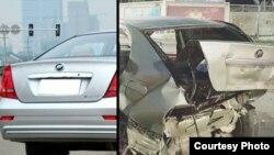 Автомобиль дагестанского художника Патимат Гусейновой: до и после аварии