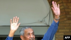 Nuclear scientist Abdul Qadeer Khan at his residence in Islamabad after the court verdict.