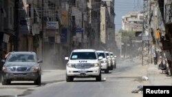 Konvoji i inspektorëve të OKB-së në zonën periferike të Damaskut