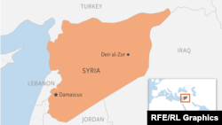 Город Дейр аль-Зор на карте Сирии.
