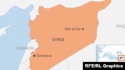 Сирия мен оның Дейр әл-Зор қаласының картадағы орны.