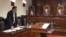 Consilierul prezidenţial Maxim Lebedinschi în faţa magistraţilor Curţii Constituţionale.