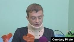 Николай Синявин в больнице после избиения. Сентябрь 2014 года. Фото предоставлено Николаем Синявиным.