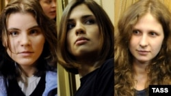 A combo photo shows three members of Pussy Riot -- Ekaterina Samusevich (left), Nadezhda Tolokonnikova (center), and Maria Alyokhina -- in a Moscow court on April 19.