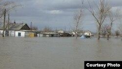 Затопленные дома в селе Садовое. Карагандинская область, 15 апреля 2015 года.