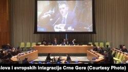 Igor Lukšić se obraća prisutnima na sjednici UN-a u Njujorku, 13. april 2016.