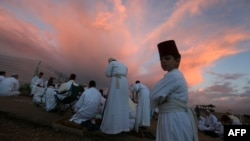 Members of the tiny Samaritan community attend a traditional ceremony at Mount Gerizim near the northern West Bank city of Nablus.
