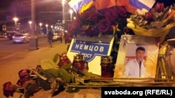An improvised memorial to Russian opposition leader Boris Nemtsov in Moscow